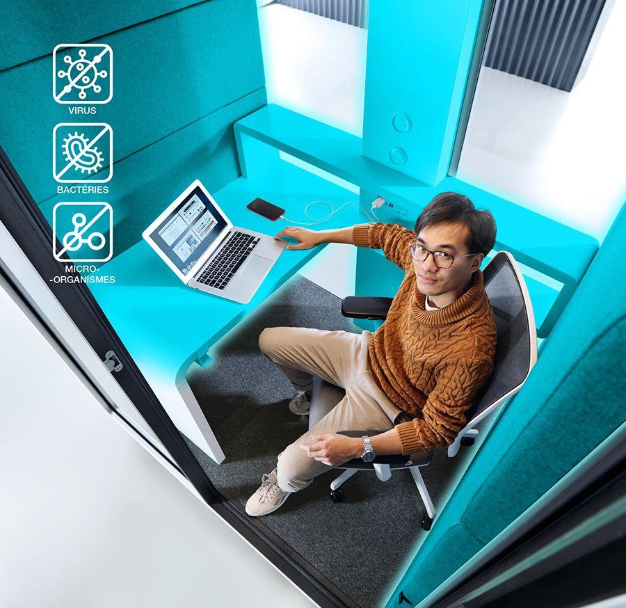 Cabine de travail qui protège des virus