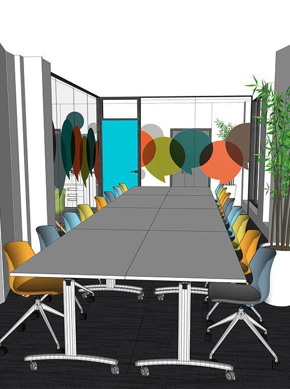Dessin architecte interieur amenagement salle de reunion